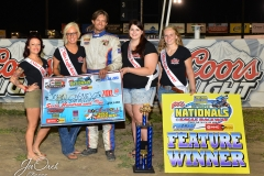 Eagle 09-04-15 IMCA Nationals 587 John Carney II with 2015 Miss Eagle Raceway finalist Kayla Meidinger Sidney Brummer Robin Brunison Sydney Guard