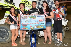 Eagle 09-05-15 IMCA Nationals 567 Jake Bubak with 2015 Miss Eagle Raceway finalist Kayla Meidinger Zoe Dalton Robin Brunison and flagman Billy Lloy