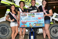 Eagle 09-05-15 IMCA Nationals 570 Jake Bubak with 2015 Miss Eagle Raceway finalist Kayla Meidinger Zoe Dalton Robin Brunison JoeorthPhotos