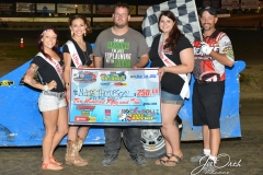 Eagle 09-05-15 IMCA Nationals 578 Nate Thomsen with 2015 Miss Eagle Raceway finalist Kayla Meidinger Zoe Dalton Robin Brunison and flagman Billy L
