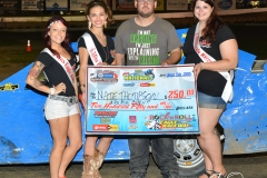 Eagle 09-05-15 IMCA Nationals 582 Nate Thomsen with 2015 Miss Eagle Raceway finalist Kayla Meidinger Zoe Dalton Robin Brunison JoeorthPhotos