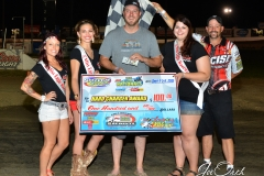 Eagle 09-05-15 IMCA Nationals 588 Hard Charger Award Winner Adam Gullion with 2015 Miss Eagle Raceway finalist Kayla Meidinger Zoe Dalton Robin Bruni
