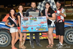 Eagle 09-05-15 IMCA Nationals 593 Mark MC Kinney with 2015 Miss Eagle Raceway finalist Kayla Meidinger Zoe Dalton Robin Brunison and flagman Billy