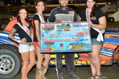 Eagle 09-05-15 IMCA Nationals 595 Mark MC Kinney with 2015 Miss Eagle Raceway finalist Kayla Meidinger Zoe Dalton Robin Brunison JoeorthPhotos