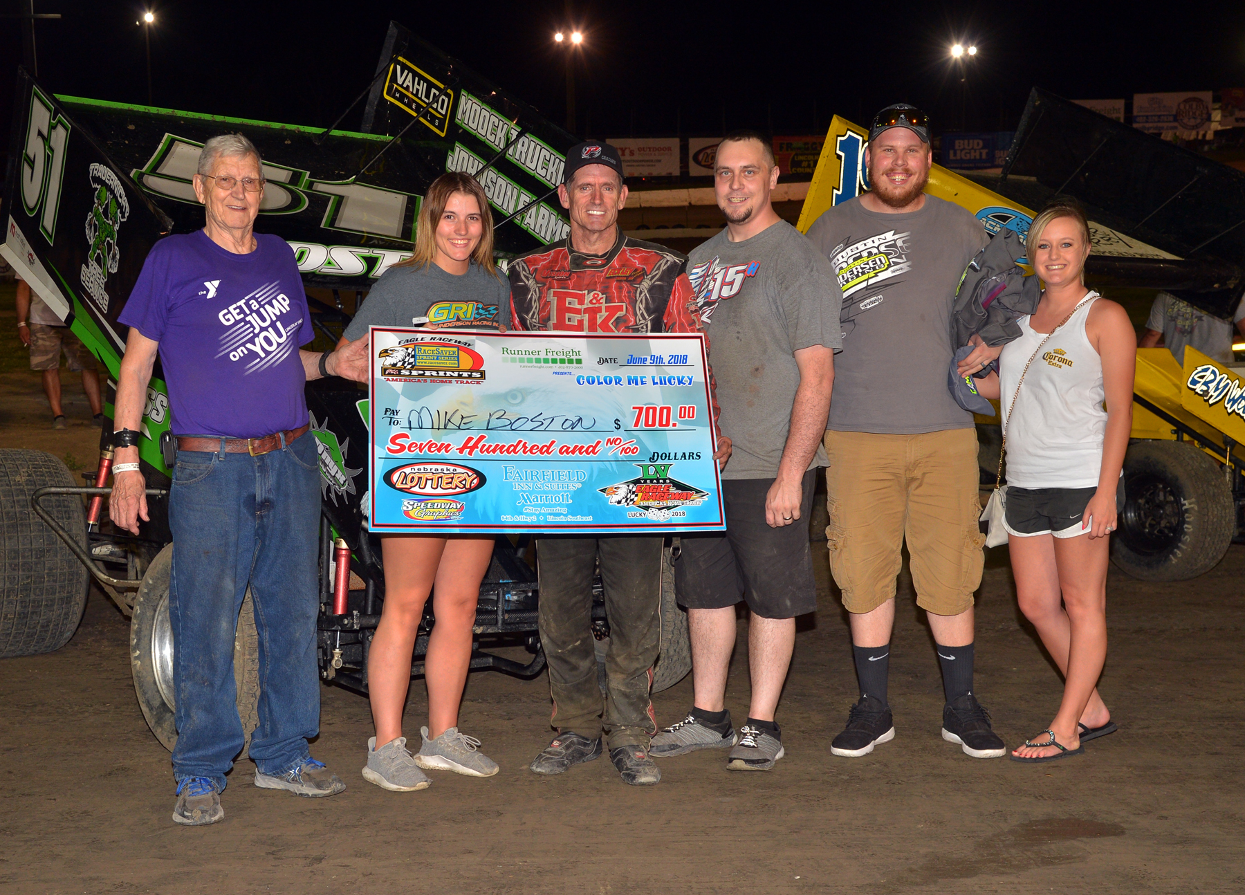 The Big Check goes to Mike Boston at Eagle Raceway on June 9th