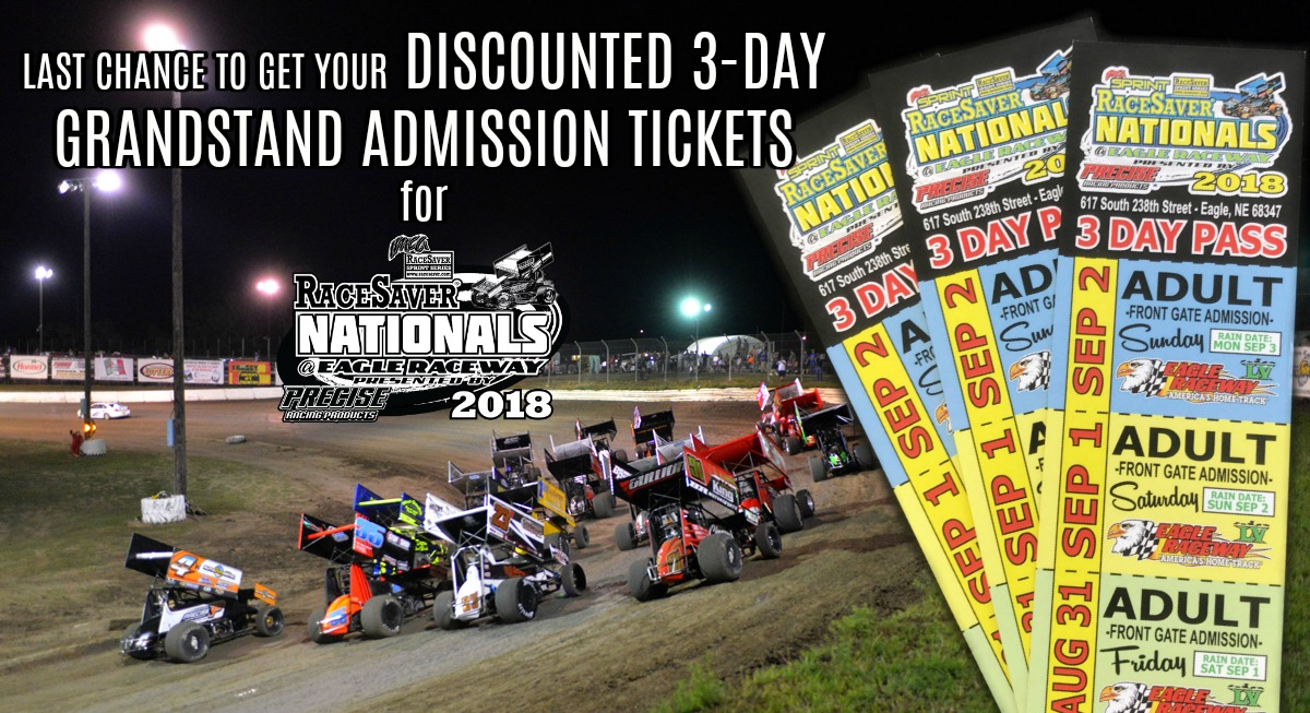 Last Chance to get DISCOUNTED 3-day Grandstand Admission Tickets for RaceSaver IMCA Sprint Nationals