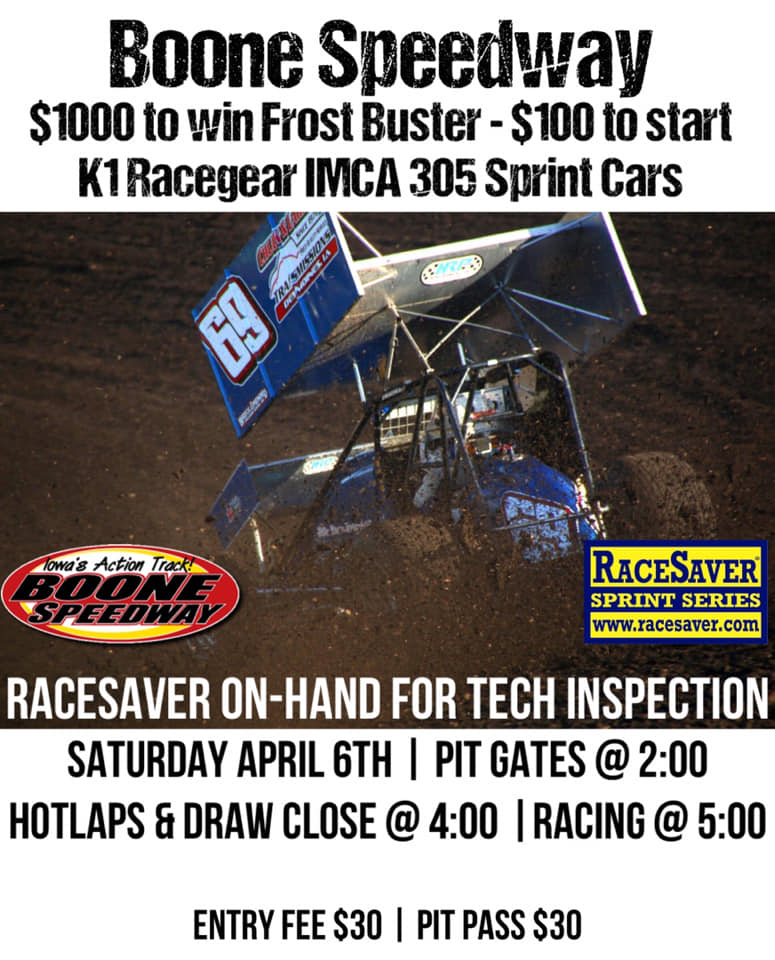 Boone Speedway Frost Buster this Saturday April 6th 2019